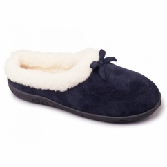 SNUG Ladies Microsuede Extra Wide (2E) Slippers Navy