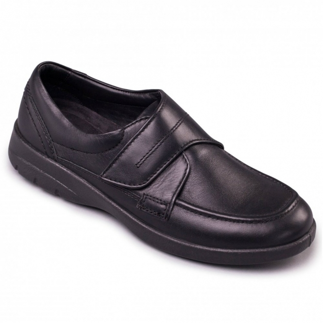 Padders SOLAR Mens Leather Wide G/H Dual Fit Touch Fasten Shoes Black