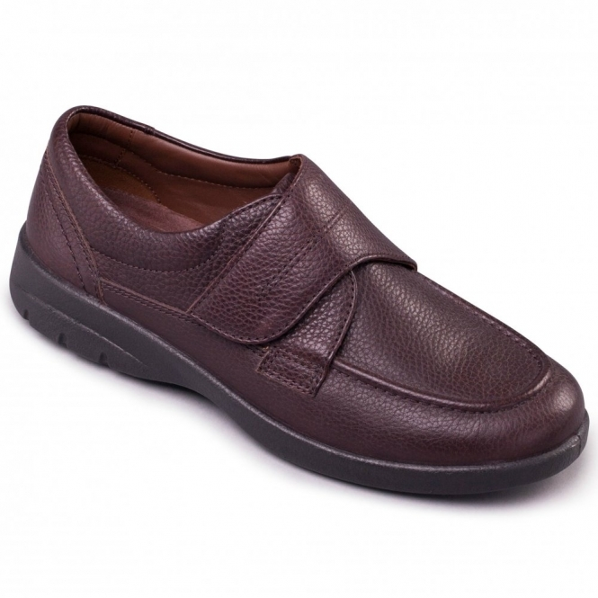 41af0c7b1a792 Padders SOLAR Mens Leather Velcro Extra Wide Shoes Dark Brown| Shuperb