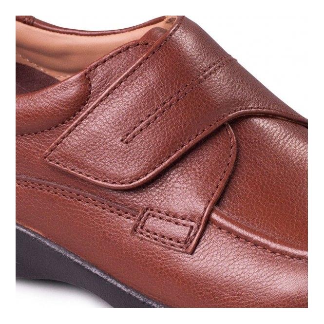 a9e56a229e2a9 Padders SOLAR Mens Leather Velcro Extra Wide Shoes Tan | Shuperb