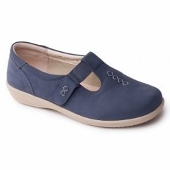 SOLO Ladies Leather Extra Wide (2E/3E) Shoes Blue