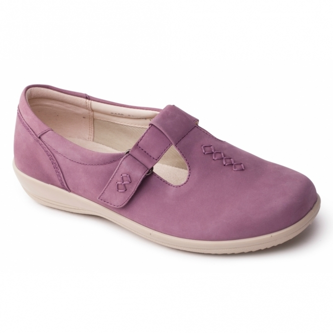 Padders SOLO Ladies Leather Extra Wide (2E/3E) Shoes Pink