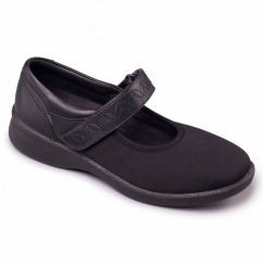 SPRITE 2 Ladies Leather Extra Wide (3E/4E) Shoes Black