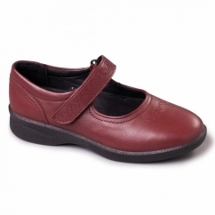SPRITE 2 Ladies Leather Extra Wide (3E/4E) Shoes Cherry Red