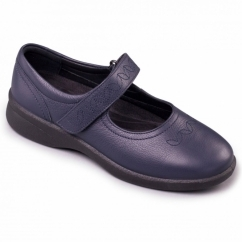 SPRITE 2 Ladies Leather Extra Wide (3E/4E) Shoes Navy