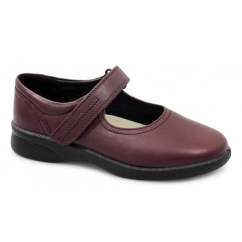 SPRITE Ladies Leather Extra Wide (3E/4E) Shoes Cherry Red
