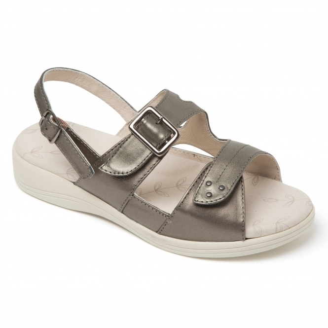 1e990a50028 Padders SUNRAY Ladies Extra Wide (3E 4E) Fit Sandals Pewter