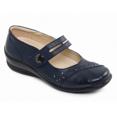 SUNSHINE Ladies Leather Wide E/EE Fit Mary Jane Shoes Navy