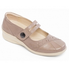 SUNSHINE Ladies Leather Wide E/EE Fit Mary Jane Shoes Taupe