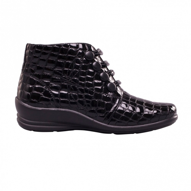 6da583aa360 Padders TANYA Ladies Leather Wide (E/2E) Ankle Boots Patent Black Croc