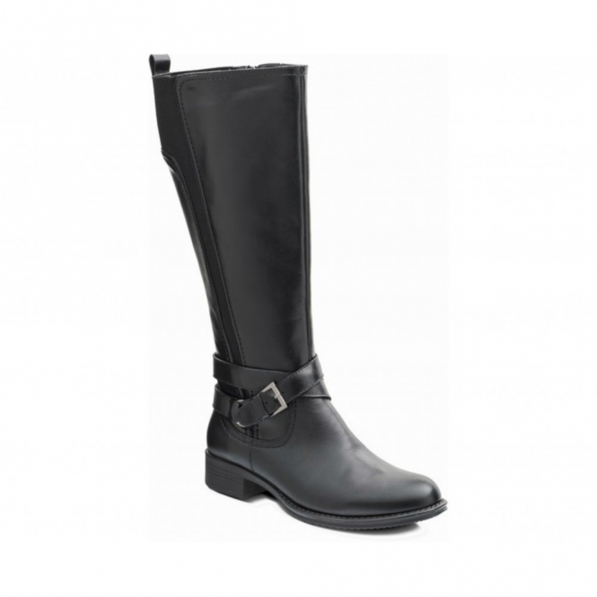 Padders TESS Ladies Leather Zip Extra Wide Knee High Riding Boots Black