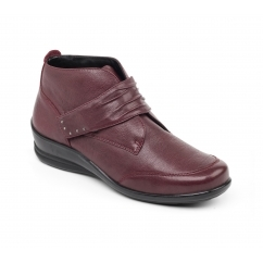TINA Ladies Leather Wide/Extra Wide Touch Fasten Boots Wine