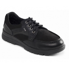 TRAIL Mens Waterproof Leather Nubuck Dual Fit Lace Up Shoes Black