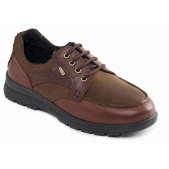 TRAIL Mens Waterproof Leather Nubuck Dual Fit Lace Up Shoes Tan