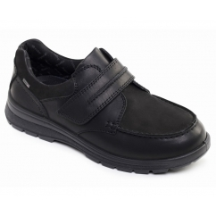 TREK Mens Leather E/Wide Dual Fit Touch Close Comfort Shoes Black