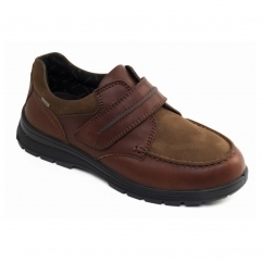 TREK Mens Leather E/Wide Dual Fit Touch Close Comfort Shoes Tan