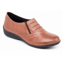 VALLEY Ladies Leather Slip On Shoes tan