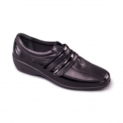 VELVET Ladies Leather Extra Wide (2E) Shoes Black
