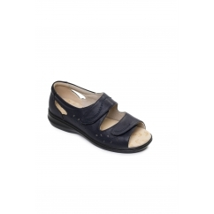 Padders WAVE 2 Ladies Leather Extra Wide (2E) Sandals Navy