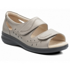 Padders WAVE Ladies Leather Extra Wide (2E) Sandals Pewter