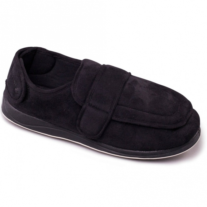 Padders WRAP Mens Microsuede Twin Velcro Wide Fit Full Slippers Black