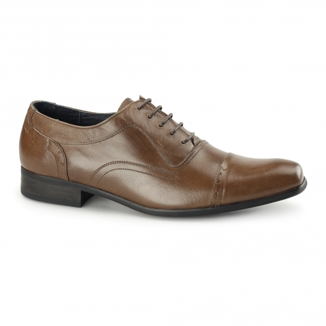 Azor PADOVA Mens Leather Oxford Shoes Tan