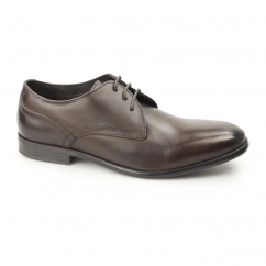 Base London BLAKE Mens Washed Leather Plain Derby Shoes Brown