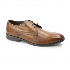 Base London PAGE Mens Washed Leather Plain Derby Shoes Tan