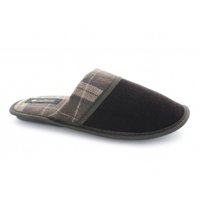 Cadans PALMER Mens Tartan Corduroy Padded Mule Slippers Brown