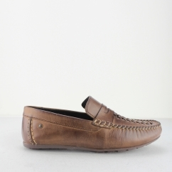 Base London PALMER Mens Waxy Leather Casual Loafers Brown