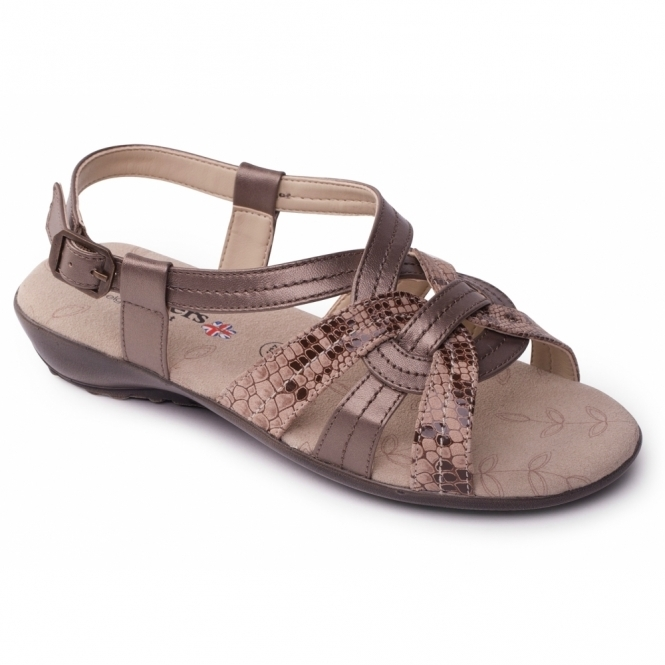 Padders PANDORA 2 Ladies Leather Wide Fit Sandals Metallic