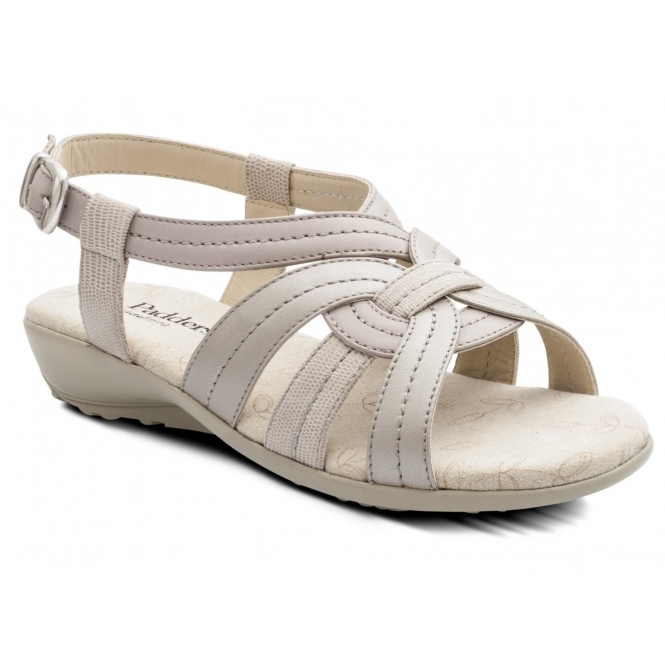 Padders PANDORA 2 Ladies Leather Wide Fit Sandals Nude