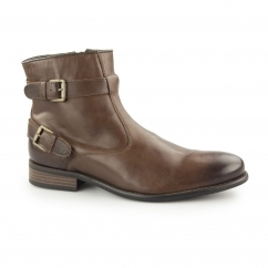 NEWCOTT Mens Leather Buckle Moto Boots Brown