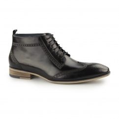 PADSTOW Mens Leather Wingtip Derby Boots Black