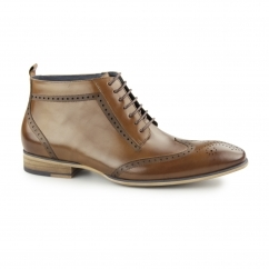 PADSTOW Mens Leather Wingtip Derby Boots Tan