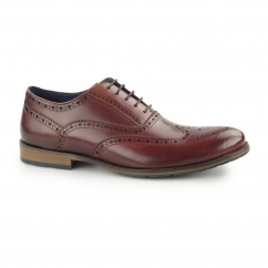 PEMBURY Mens Leather Wingtip Oxford Brogues Wine