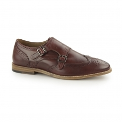 POWICK Mens Leather Wingtip Brogue Monk Shoes Burgandy
