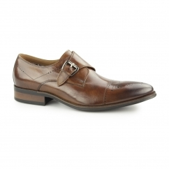 RAMBEAU Mens Leather Brogue Monk Shoes Tan