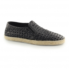 ROMAIN Mens Leather Woven Espadrilles Black