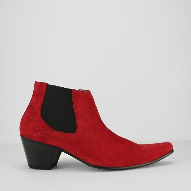 VEER III Mens Suede Winklepicker Cuban Heel Boots Red. Paolo Vandini ...