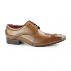 WOLF Mens Leather Wingtip Derby Brogues Tan