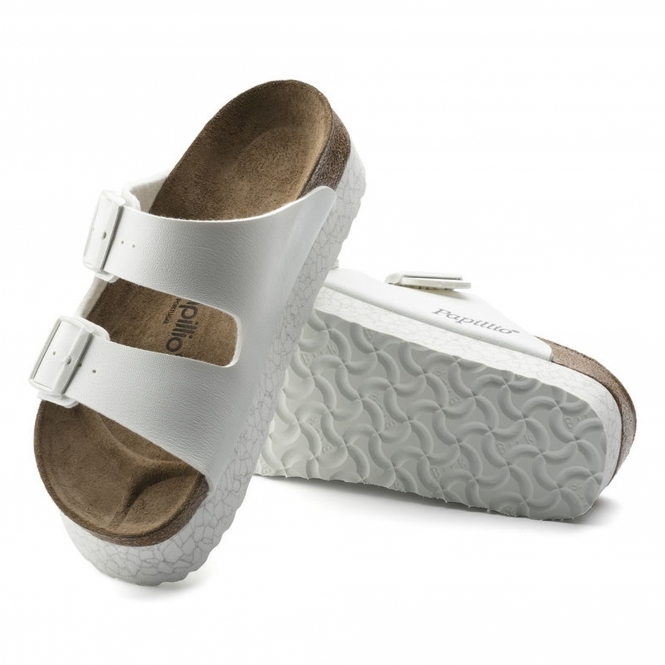b537f110d6ca Papillio by Birkenstock ARIZONA Ladies Buckle Mule Sandals Marble White