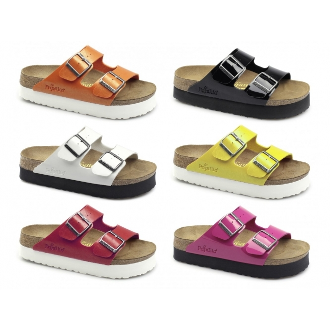 7cc00c4c7b Papillio By Birkenstock ARIZONA 363903 (Nar) Ladies Birko-Flor Two Strap  Sandals Patent