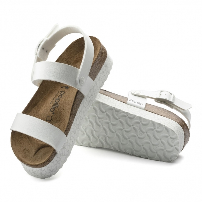 16684568a9 Papillio by Birkenstock CAMERON Ladies Buckle Up Platform Sandals Marble  White