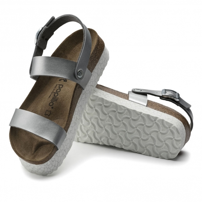 f1ae393c65 Papillio by Birkenstock CAMERON Ladies Buckle Up Platform Sandals Silver
