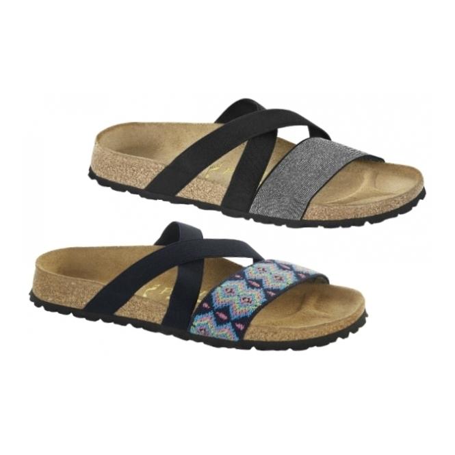 Papillio By Birkenstock COSMA 424333 (Nar) Ladies Elasticated Cross Strap  Sandals Black Silver 854589c8f3b