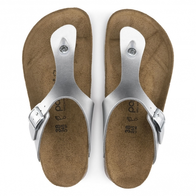 a99f73f461b Papillio by Birkenstock GIZEH Ladies Toe-Post Buckle Sandals Marble Silver