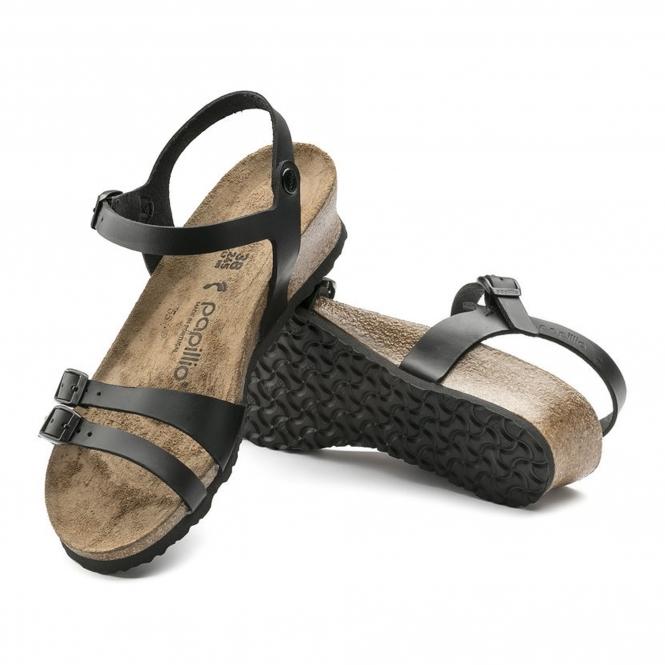 e1614db165c Papillio By Birkenstock LANA Ladies Leather Buckle Wedge Sandals Black