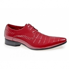 PARIS Mens Funky Pointed Patent Shoes Red