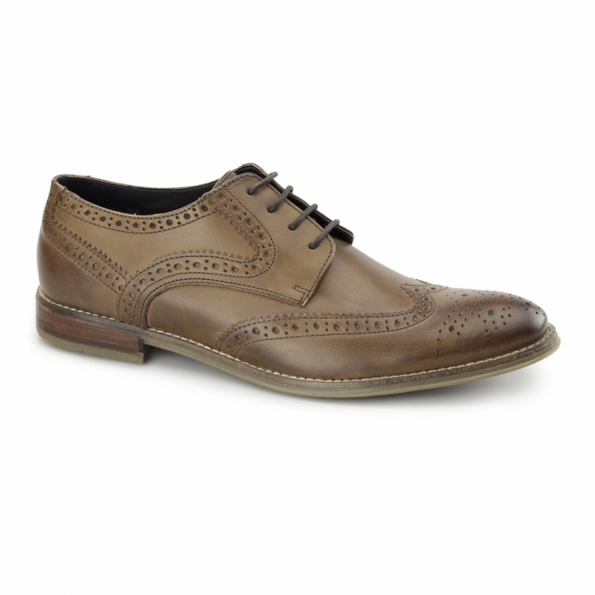Ikon PARKER Mens Leather Wing-Tip Brogues Tan